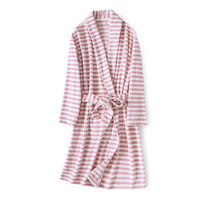 Cute Stripes Polar Fleece Women Nightgowns Winter Bathrobe Sexy Nightie Robe Night Dressing Gown Couples Badjas Batas De Mujer
