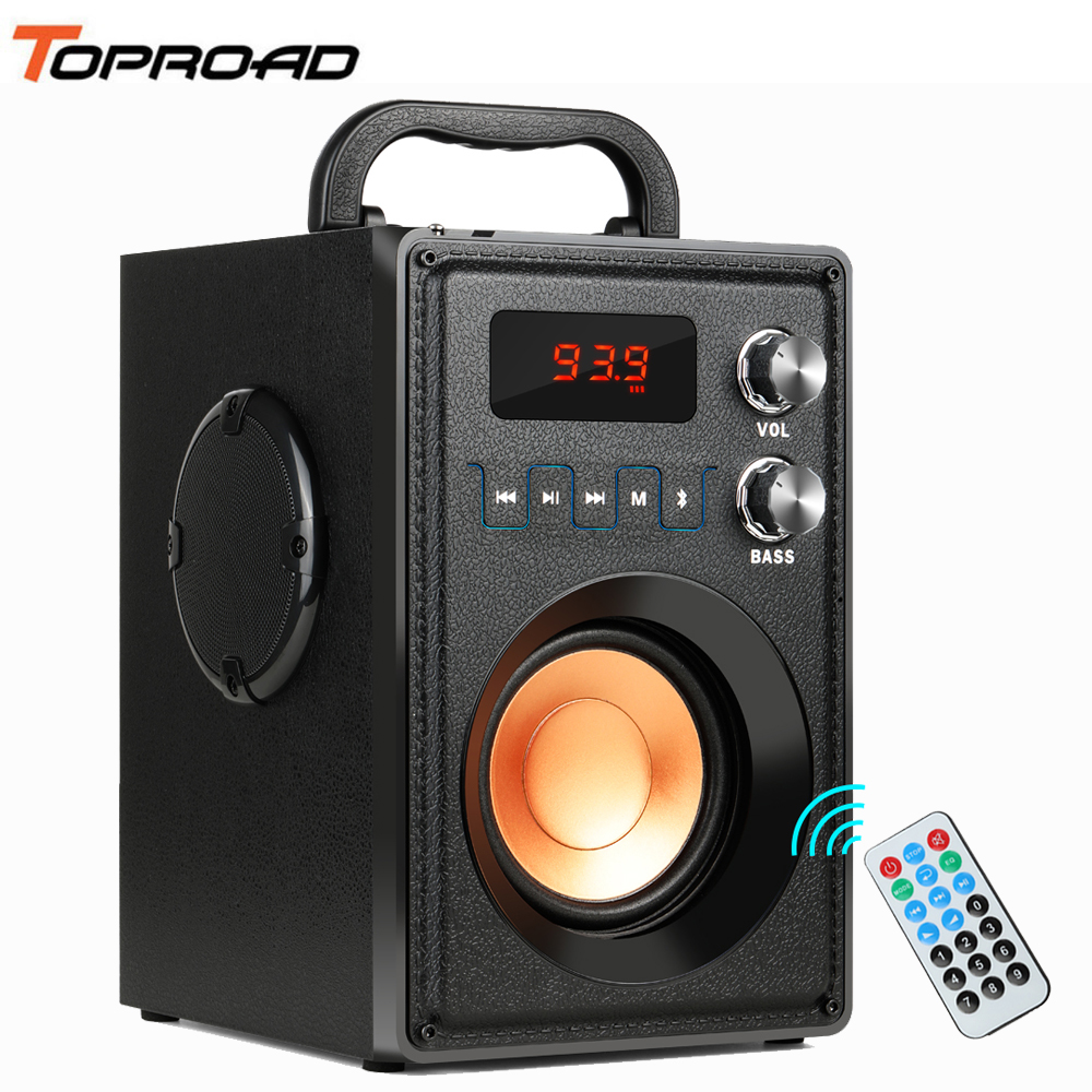 TOPROAD Big Power 20W Portable Bluetooth Speaker Heavy Bass Wireless Speakers Subwoofer Support Remote Control FM