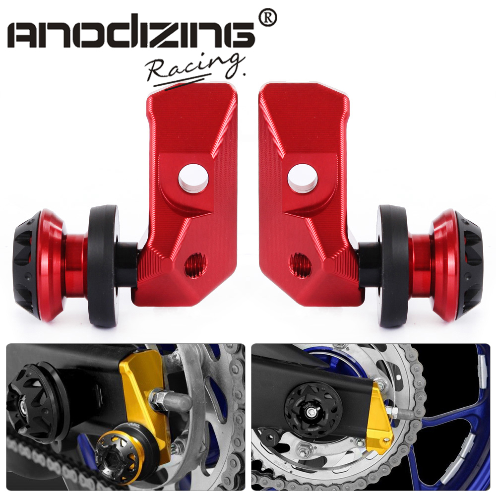 Motorcycle Alloy CNC Rear Axle Spindle Chain Adjuster Blocks with Spool Sliders Kit For Yamaha YZF R3 MT-03 MT-25 2015 2016 ca r3 new arrival motorbike cnc rear axle spindle chain adjuster blocks protector for yamaha yzf r3 yzf r25 mt 03 mt 25