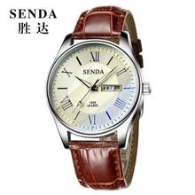 Fashion simple stylish Top Luxury brand SENDA Watches men Leather strap band Quartz-watch Clock man calendar Wristwatches gift