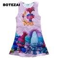 2017 Hot Sale Troll Costume Pattern Children Costumes For Girls Carnival Cartoon Kids Dress Summer Girl Dress Trolls Clothes