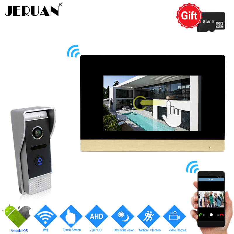JERUAN IP WIFI 7 inch Touch Screen Video Doorbell Intercom System kit 720P AHD Record Monitor IR COMS Camera Support Android IOS jeruan ip wifi 7 inch touch screen video doorbell intercom system kit 720p ahd record monitor ir coms camera support android ios
