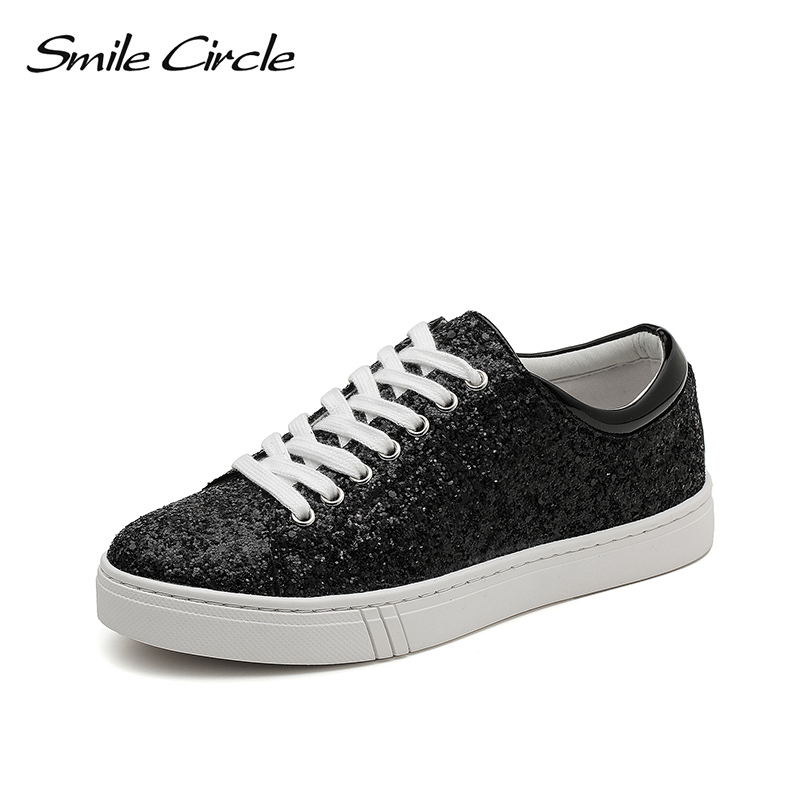 Smile Circle Size 35-41 Women Sneakers Fashion Sequins Flat Platform Shoes For Women Thick bottom Casual Shoes Silver Black Smile Circle Size 35-41 Women Sneakers Fashion Sequins Flat Platform Shoes For Women Thick bottom Casual Shoes Silver Black