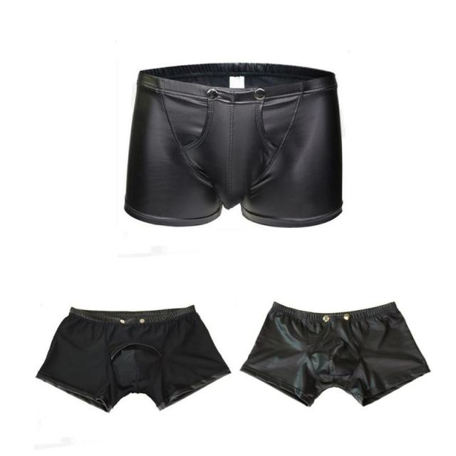 Summer New Men Trunks Leather Underwear U-shape Bulge Boxer Briefs Shorts  Sexy Patent Pouch Soft Underpants