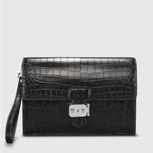 Cestbeau American style Nile crocodile bag with lid type locking clutch large capacity wrist leather