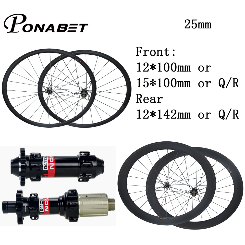 купить PONABET 25mm width U shape 700C carbon wheels 38mm/50mm/60mm/88mm bike wheelset Novatec Disc D411SB/D412SB straight pull hub по цене 24740.66 рублей