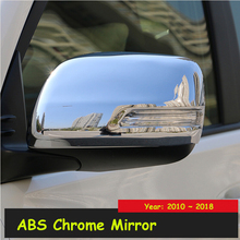 For Toyota Land Cruiser Prado LC150 2010-2018 ABS Chromed Rear-View Side Mirror Cover Trim Car Styling Accessories 2pcs for toyota land cruiser prado fj150 lc150 2010 2017 abs matte rear air conditioning vent outlet cover trim car styling accessory
