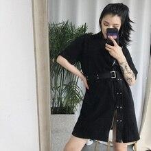 Summer Harajuku Zipper Black Female Belt Dress Korean Ulzzang Gothic Style Street Fashion Design Split Simple T Shirt Dresses