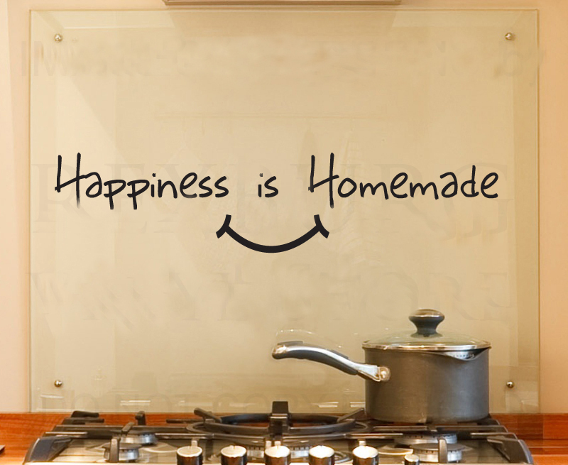 Happiness Is Homemade Kitchen Wall Stickers Home Decoration Art Decals Living Room Decorative Sticker Quote