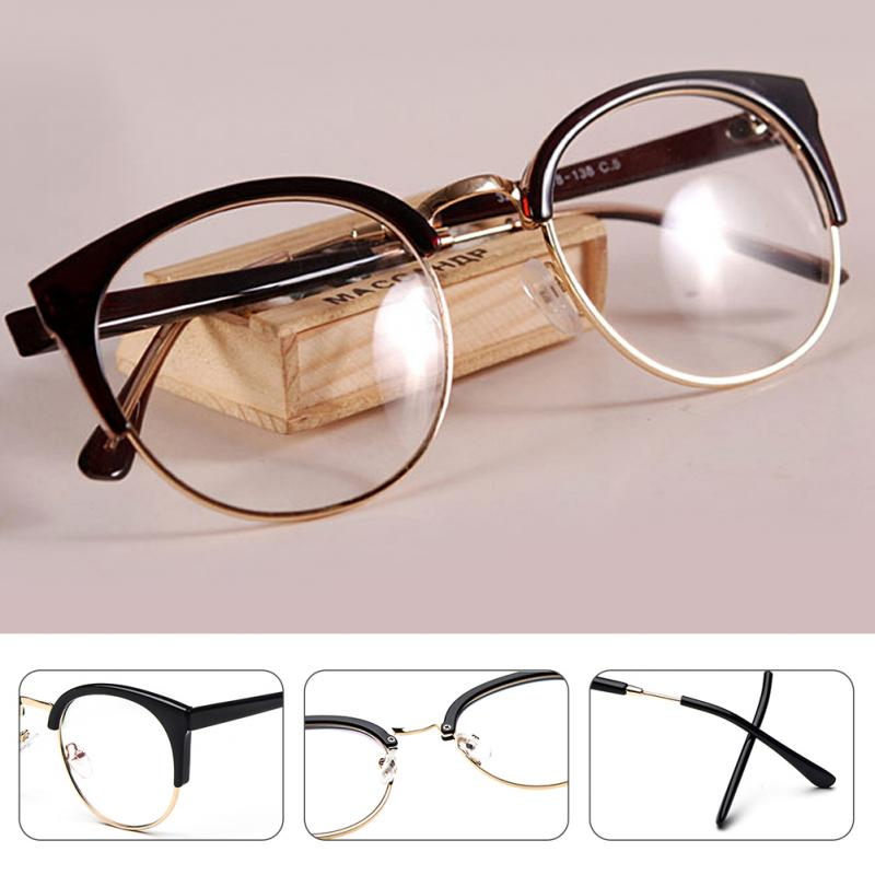 Anti-Radiation Goggles Plain Glass Spectacles Fashion Women Metal+Plastic Semi Circle Frame Glasses