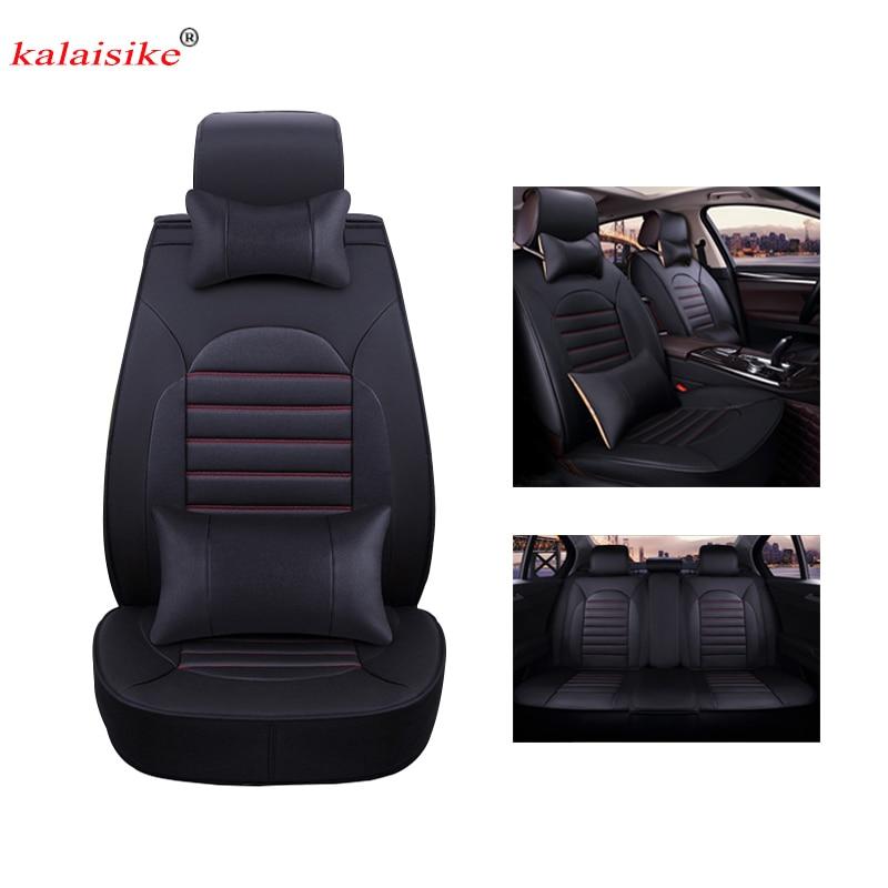 Kalaisike leather Universal Car Seat cover for Volkswagen all models polo golf tiguan Passat jetta VW Phaeton touareg Phaeton CC