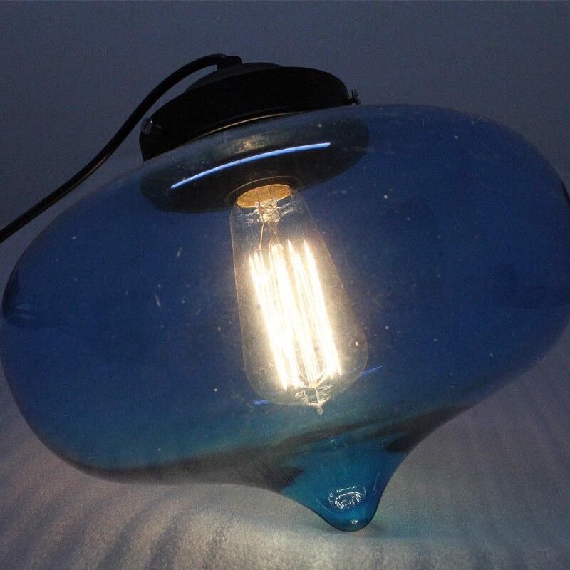 Nuevo Azul de La Vendimia de Cristal Colgante Luz E27 Lámpara de Techo Para Bar Cafetería Comedor Accesorio de Iluminación de Suspensión Lámparas D78-4