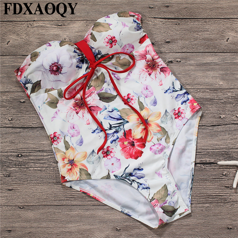 FDXAOQY 2018 NEW Style Halter Bathing Suit Push Up Sexy One Piece Swimsuit Women Swimwear Bandeau Jumpsuit Bikinis Strapless popular dot bikini bandeau push up swimwear women strapless swimsuit off shoulder bathing suit beachwear thong