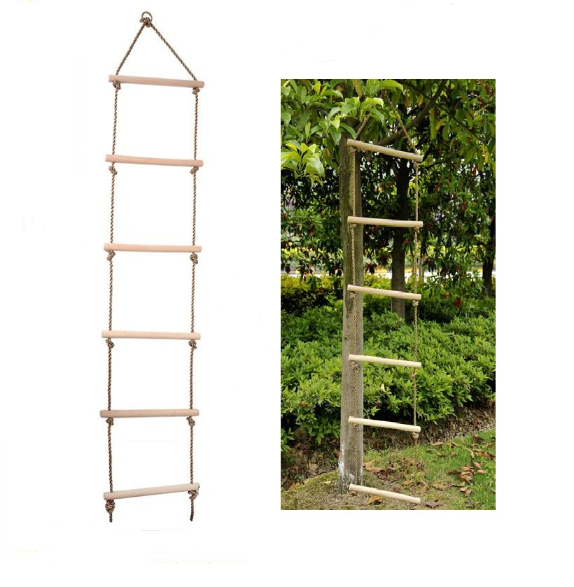 Kids Indoor Outdoor Playhouse 2m 6 Rungs Rope Swing Safe Climbing Ladder Fitness Toy Garden Backyard Play Fun Tree House Accs