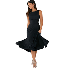 Women Sleeveless Dresses Casual Round Neck Midi Dresses A-line