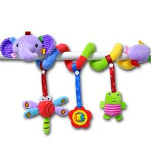 Elephant Cartoon Stroller Arch Rattles Hanging Cute Plush Animals Style Bed Around for Baby Education Toy Spiral Wrap