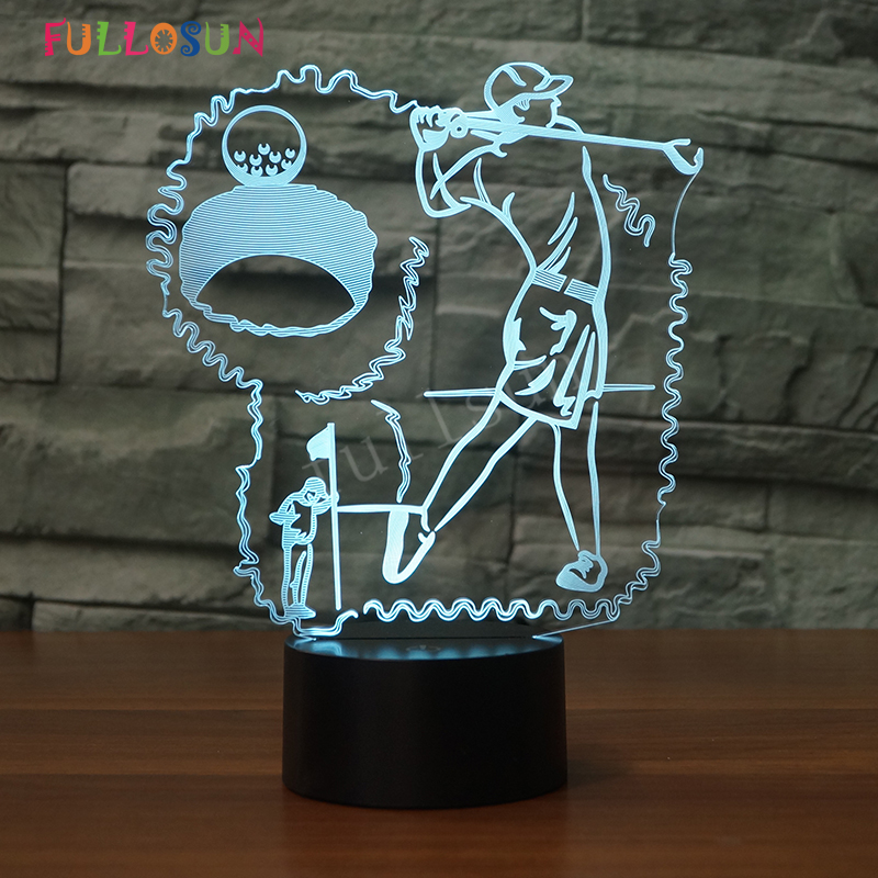 LED Night Lights Golf Sports 3D Desk Lamp 7 Colors Change Creative Home Lighting for Kids Touch USB LED Lamp