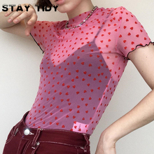 STAY TIDY Red Hearts Printed Mesh Perspective T Shirts Sexy Ruffles O-Neck Short Sleeve Women Tops 2019 Summer Ladies Party Club