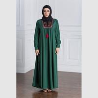Muslim Dress Women Long Sleeve Embroidery Patchwork Abaya Loose Pakistan Free Plus Size Ethnic Arab Robe