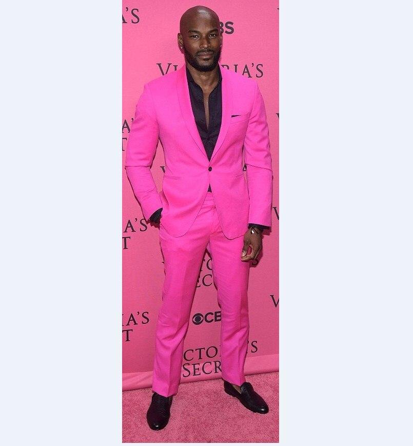 New Arrival Groomsmen Shawl Lapel Groom Tuxedos Hot Pink font b Men b font Suits Wedding