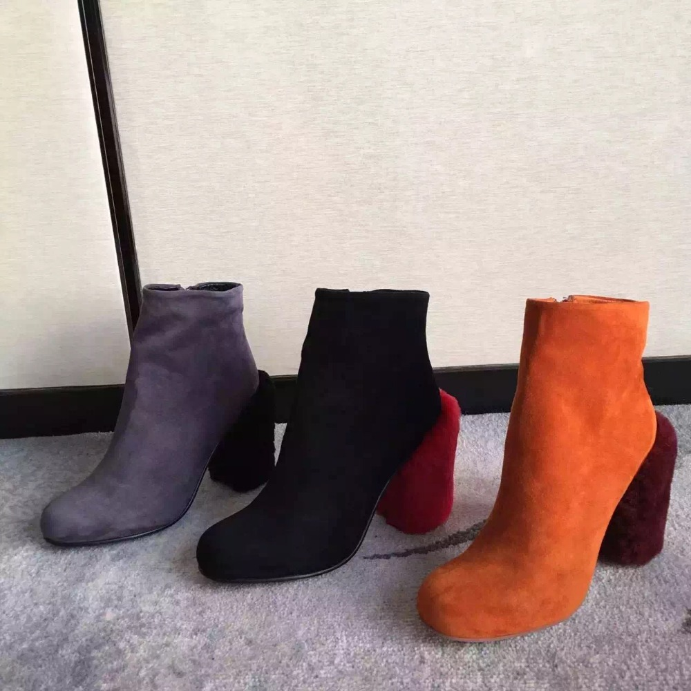 2017 New Arrival Autumn Winter Short Cylinder Boots Wool High Heels Martin Boots Women Ankle Boots Side Zipper Round Toe Shoes
