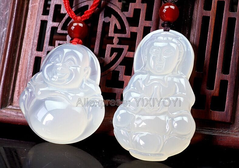 Beautiful Natural White Agate Jade Carved Chinese GuanYin Buddha Lucky Blessing Pendant + Rope Necklace Charming Fine Jewelry