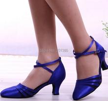 New Free Shipping Blue Satin Black Mesh Closed Toe font b Dance b font Shoe Ballroom