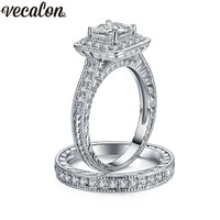 Vecalon Vintage Female Ring Set 1ct AAAAA Zircon Cz Wedding Rings For Women 10KT White Gold
