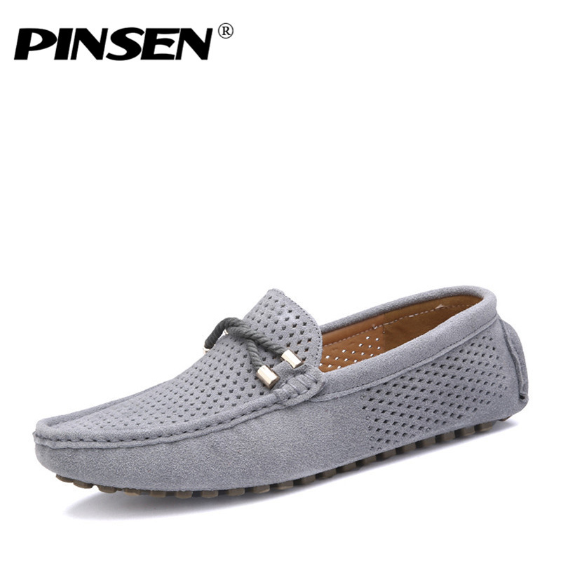 PINSEN Summer Genuine Leather Casual Men Shoes Soft Breathable Driving Shoes Men Flats Loafers Brand Leather Shoes Moccasins 2016 new style summer casual men shoes top brand fashion breathable flats nice leather soft shoes for men hot selling driving