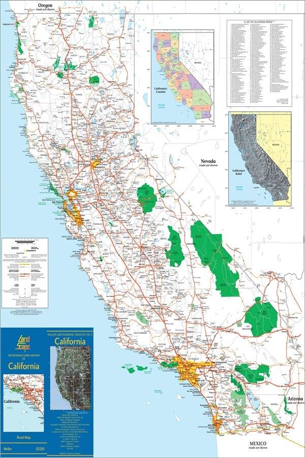 Custom Canvas Wall Decor California City Map Poster California Map Wallpaper World Map Wall Stickers Office Decoration #1429# ...