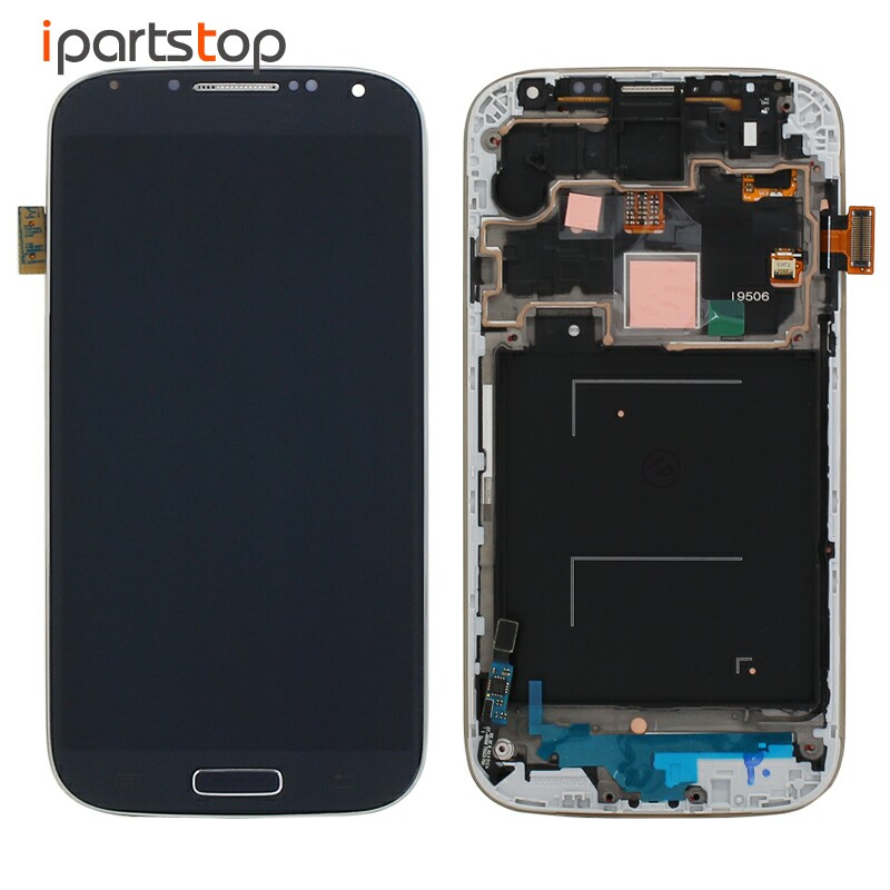 Original LCD Screen Display Touch Digitizer With Front Frame Assembly For Samsung S4 i9500 i9505 i9506 i337 i545 Blue White lcd screen assembly for apple iphone 4 4g lcd display touch screen digitizer pantalla with frame bezel replacement black white