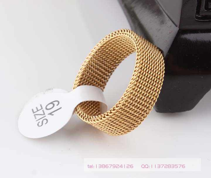 8mm gold color soft mesh Titanium steel ring, Indulgent rings for men and women, 316L Stainless steel rings jewelry wholesale