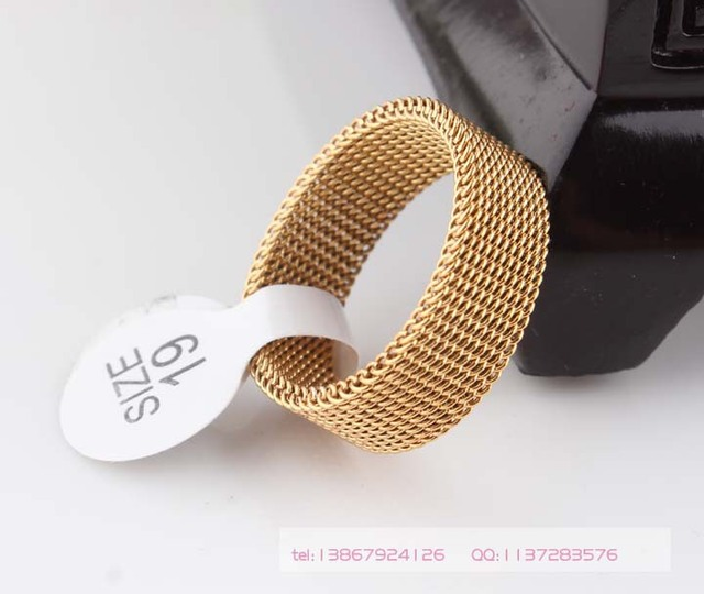 8mm gold color soft mesh Titanium steel ring, Indulgent rings for men and women,