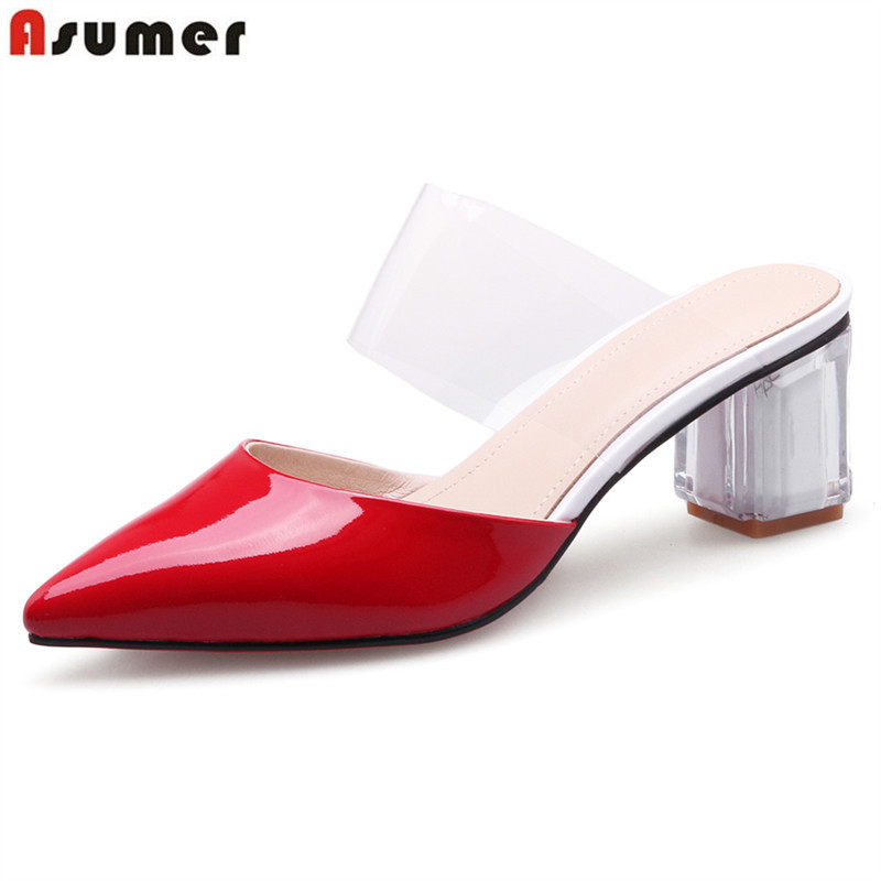 ASUMER 2019 hot sale new shoes woman pointed toe shallow high heels shoes summer new shoes mixed colors sandals women big size ASUMER 2019 hot sale new shoes woman pointed toe shallow high heels shoes summer new shoes mixed colors sandals women big size