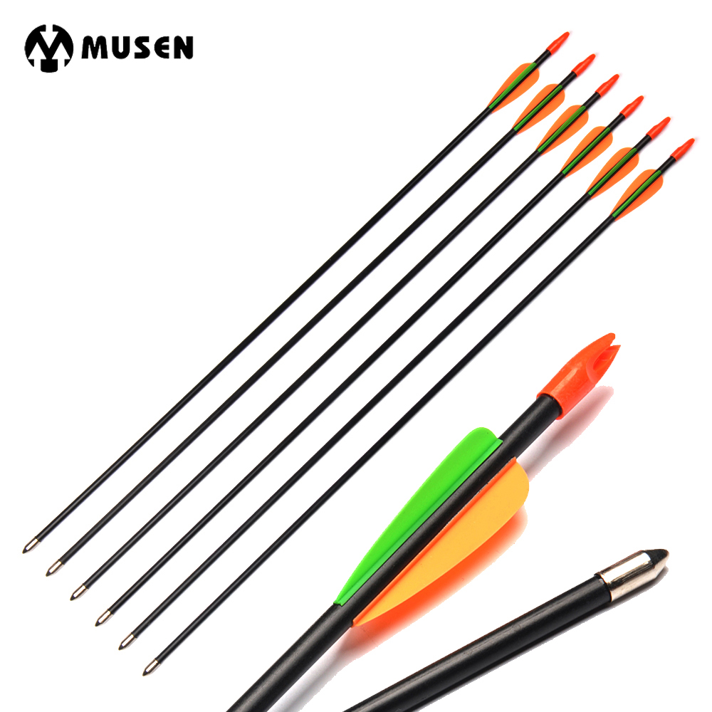 6/12/24pcs 28 Inches Spine 700 Fiberglass Arrows For Children /Women Practice Fit For Compound Bow Practice/Shooting Archery