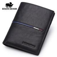 BISON DENIM Cowskin Leather Men Wallets Multi Functional Cowhide Coin Purse Slim Genuine Leather Wallet Men