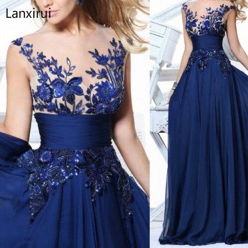 Nouveau élégant bleu/vin rouge/noir dentelle mousseline de soie robes longues pour fête de mariage été robe formelle 2018 Maxi robes Vestidos