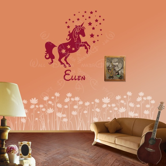 Custom Name Personalized Charming Horse Wall Sticker Unicorn Wall Stickers  Vinyl Bedroom Wall Decal Kids Girls