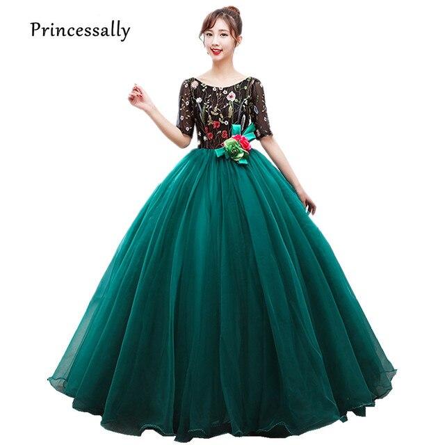 Vestido De Festa New Luxury Emerald Evening Dress Long Embroidery ...