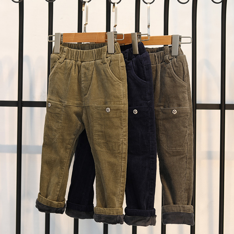 Winter Trousers for Boys Children's Pants Winter Warm Thick Baby Boy Corduroy Pants Casual Pants for Kids Boy Children Clothing sosocoer boys jeans kids clothes winter thick warm boy cowboy pants high quality girls trousers fashion casual children costume