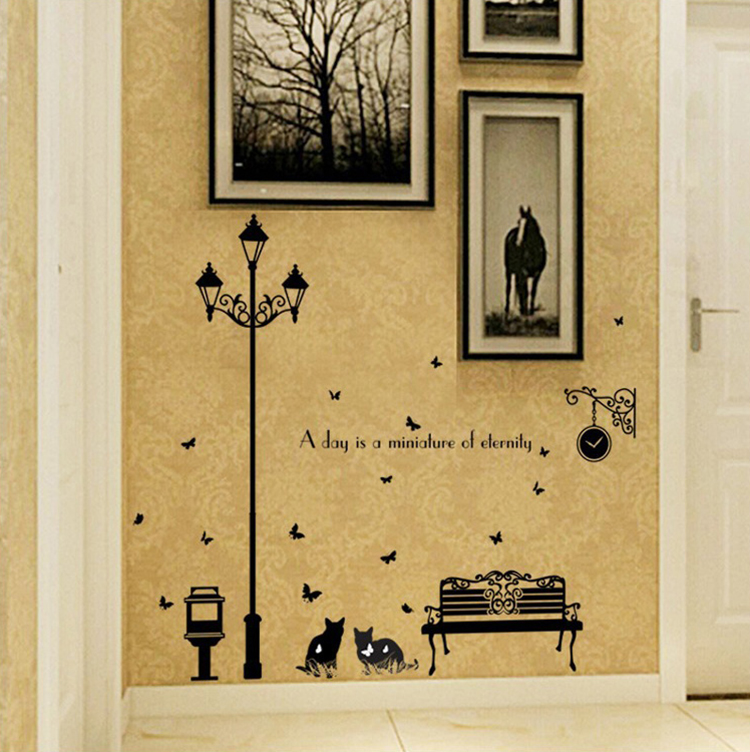 modern street kitten silhouette large wall stickers home decor ...