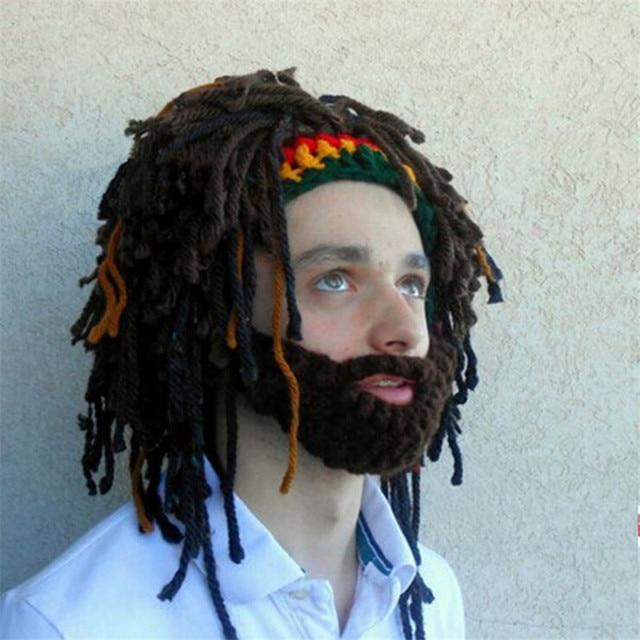 Peluca barba Beanie hombres Cap Rasta hecho a mano ganchillo ...