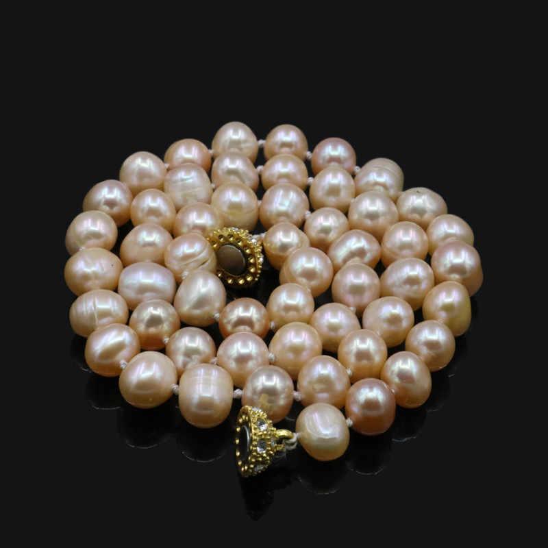 """Gorące nowe urocze, piękne biżuteria naturalne 8-9MM biały Akoya hodowlane perły naszyjnik ręcznie wykonane 18 """"14KGP zapięcie AA sp0368"""