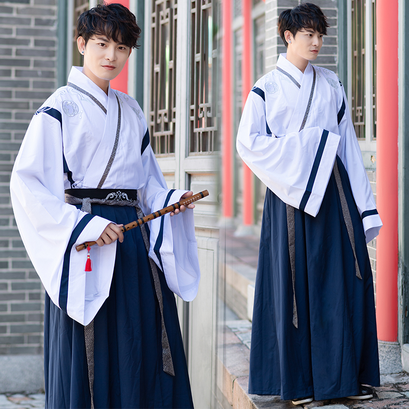 Hanfu Men Chinese Opera Costumes Traditional Ancient Folklore Clothing Male Minority Dance Suit Stage Outfits Show Wear DNV11616