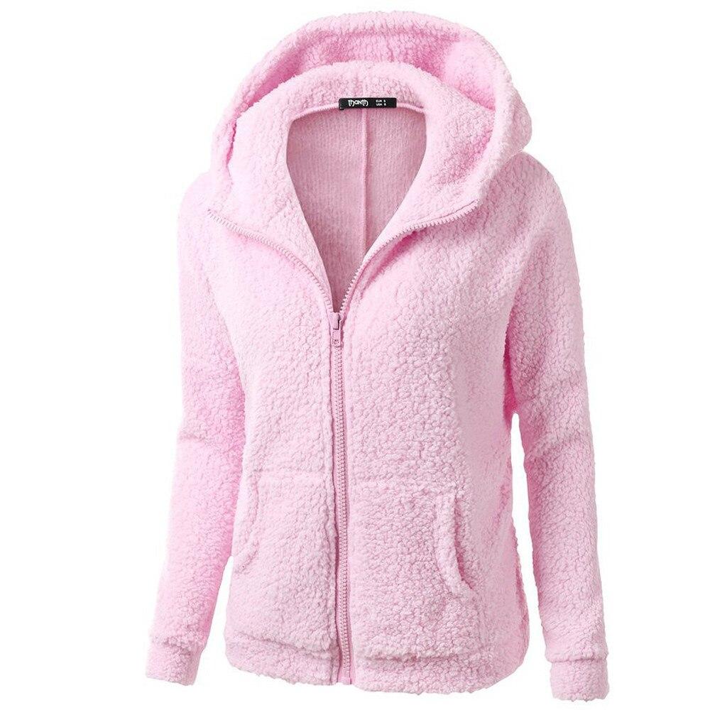HTB1r XEX.LrK1Rjy0Fjq6zYXFXap Women Solid Color Coat Thicken Soft Fleece Winter Autumn Warm Jacket Hooded Zipper Overcoat Female Fashion Casual Outwear Coat