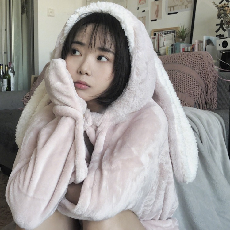 Cute Pink Comfy Blanket Sweatshirt Winter Warm Adults and Children Rabbit Ear Hooded Fleece Blanket Sleepwear Huge Bed Blankets 83