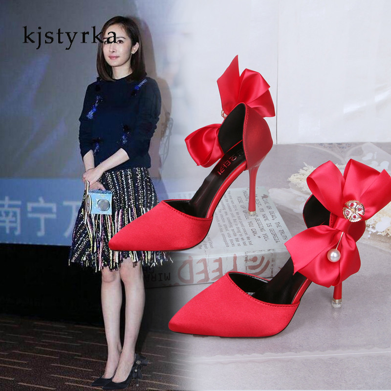 9f3f4d274f8a Kjstyrka Women pumps Fashion red bottom pointed toe patent leather bow high  heels 10cm wedding shoes woman Zapatos Mujer