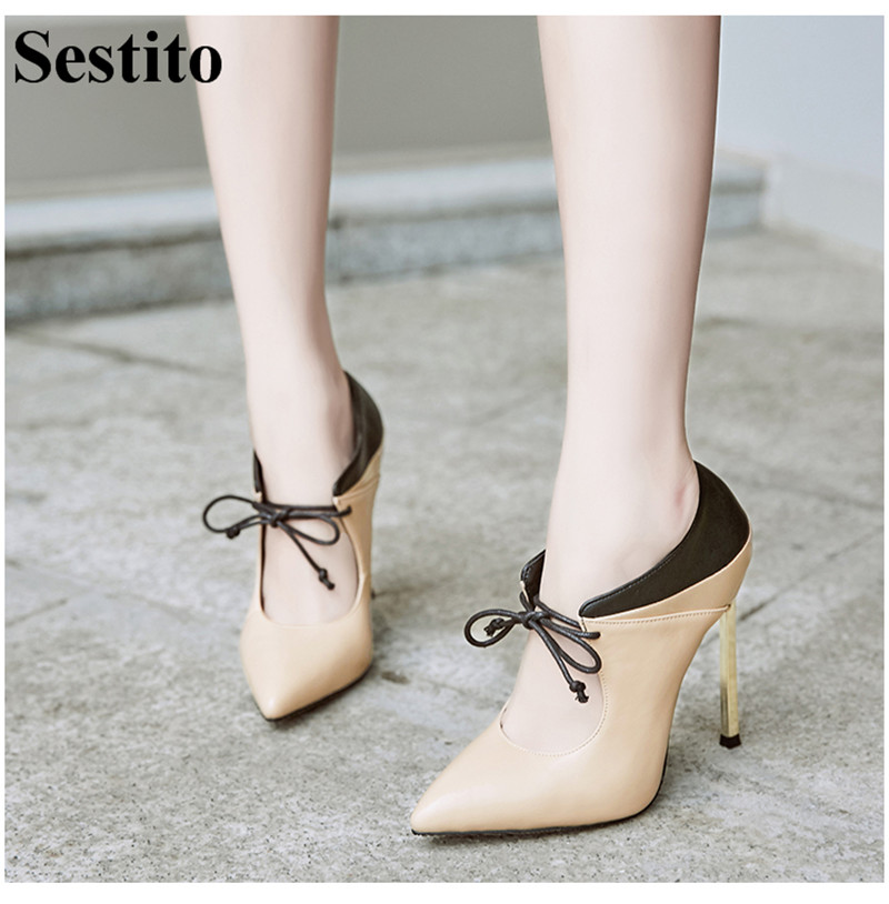 New Fashion Black Cross-tied Patchwork Boots Woman Pointed Toe Ankle Boots For Women Super High Thin Heels Lace-up Women ShoesNew Fashion Black Cross-tied Patchwork Boots Woman Pointed Toe Ankle Boots For Women Super High Thin Heels Lace-up Women Shoes