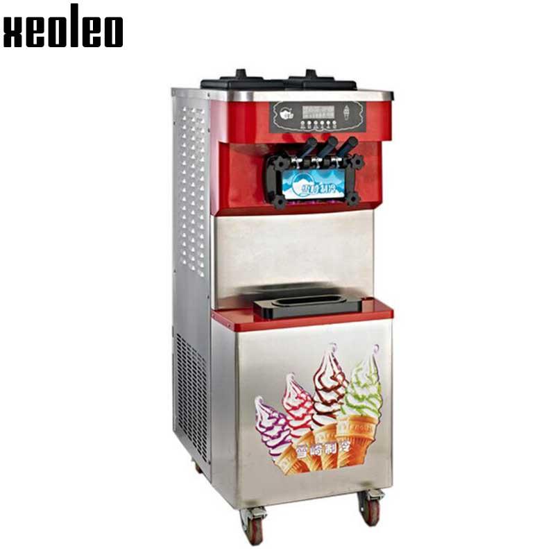 Xeoleo Commercial Yogurt Ice cream machine 30/40/60L/H Stainless steel Soft Ice cream maker 3 Flavors R404 2000-3500W Copeland  xeoleo three flavors ice cream machine commercial soft ice cream maker 18 20l h blue yellow pink 1hp yogurt ice cream 2000w
