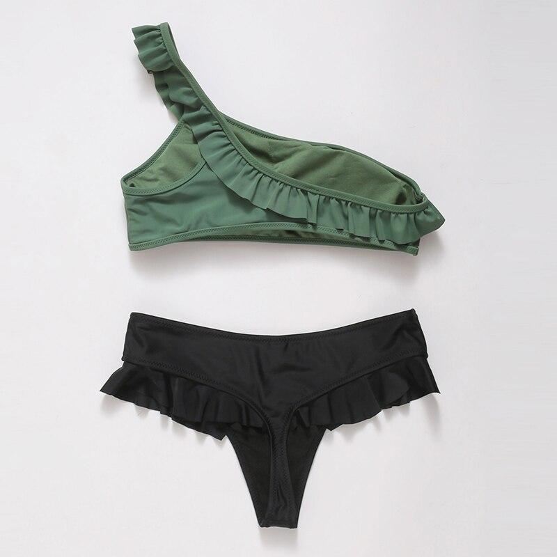 HTB1r XcajzuK1Rjy0Fpq6yEpFXaG INGAGA Bikini 2019 One Shoulder Swimsuit Ruffle Swimwear Women Solid Women's Swimming Suit maillot de bain femme Sexy Biquini